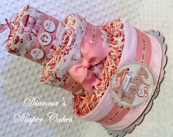 Baby Diaper Cake Pink Girls Nursery Rhymes Shower Gift or Centerpiece