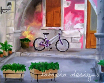 Pink Bicycle Art - Fine Art Print - Bicycle Art - Bike Art - Bicycle Painting - Paris Art - Pink Decor - Paris Decor - Europe Art