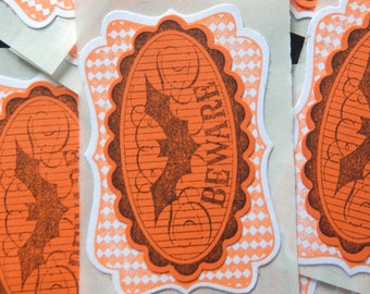Halloween BEWARE - Gift Tags/Stickers  (10)