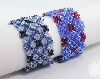 Swarovski Crystal Cuff Bracelet, Sapphire Blues and Ruby Red, Smokey Blue and Silver, RAW Stitched Bracelet, Crystal Diamond Plaid Pattern