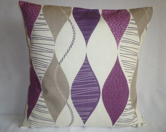 "BIG 22"" Funky Purple Damson Grape Gray Designer Cotton Cushion Cover's. Pillowcases Shams Slips"