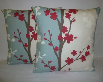 "PAIR 22"" Robins Blue Red Taupe Floral Modern Cushion Covers. Designer Pillowcases, Shams, Scatter Slips, Accent Pillows"