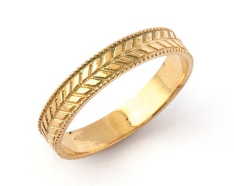 Vintage Wheat Milgrain Wedding Band Ring in Rose Gold