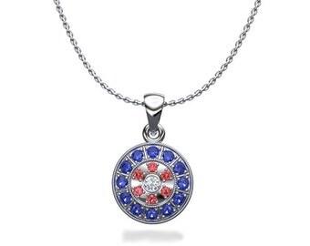 Luminous Ruby Diamond Circle Pendant Necklace in White Gold