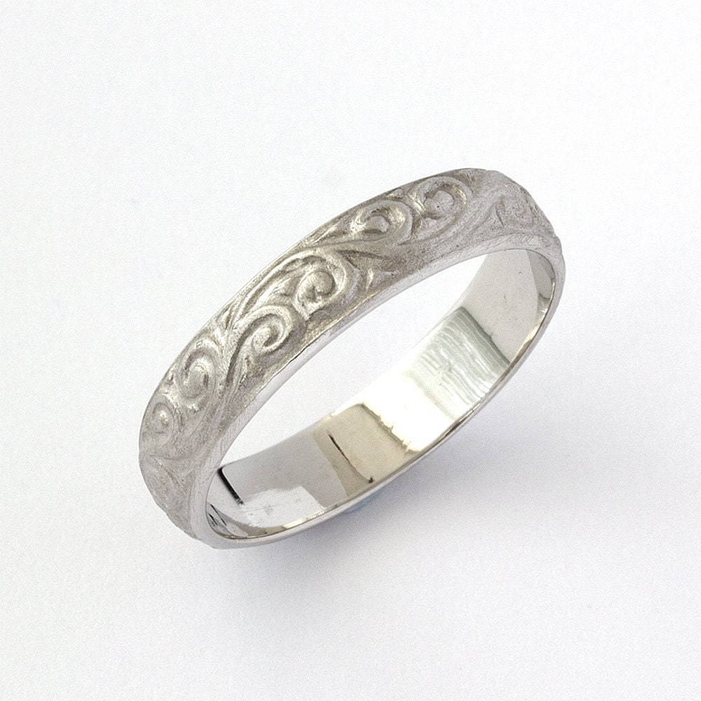 Antique Scroll Bands: Vintage Scrolls Engraved Wedding Band In White Gold
