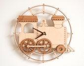 Wooden Train Clock Kids Nursery Train Room Decor