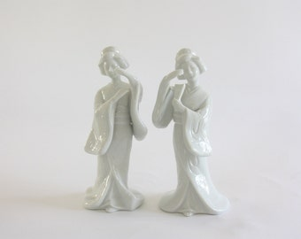 Vintage Pair of White Porcelain Geisha Figures