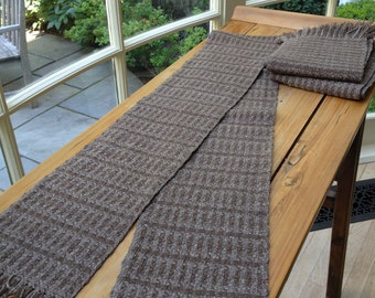 Woven Merino Scarf in Chocolate Brown Wool with Knotted Fringe