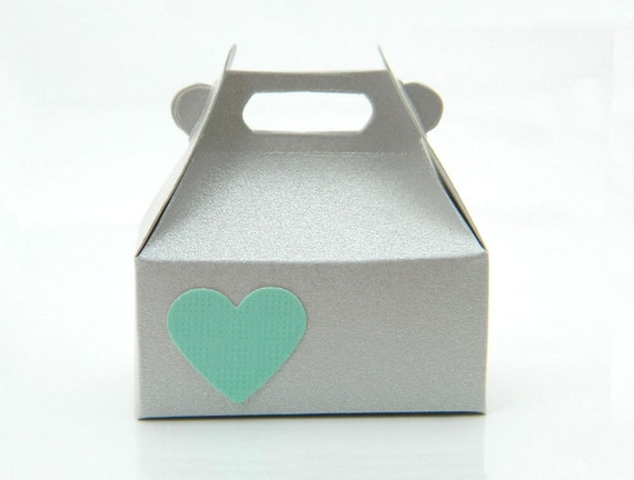 Jewelry Gift Wrap Box - Box for Rings - Gift Bag. Heart, Mint, Grey, Valentine's Day, Green, Love, Candy, Wedding, Romantic, Favor, Mini Box