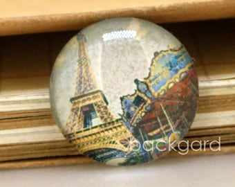 Circle Charm Eiffel Tower Photo Glass Cabochon Magnets Paperweight Pushpins crystal Handmade Dome 10mm12mm14mm 16mm 18mm 20mm 22mm 25mm 30mm