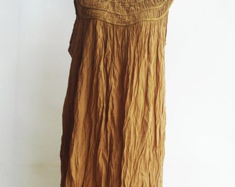 D1, Ruffle Sleeveless Yellow Brown Cotton Dress