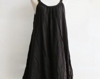 D22, Dark Brown Swan Double Layers Cotton Dress