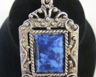 Vintage Antiqued Silver Tone Pendant with Marbled Blue Center Stone - REVERSIBLE