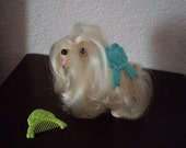 Sweetie Pups Maltese Dog by Hasbro, 1980s toy with original barrette and comb.