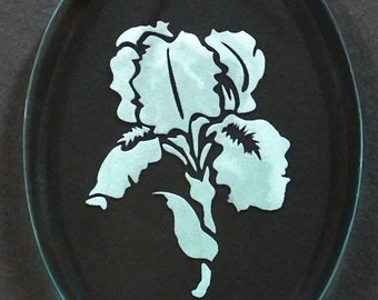Carved Glass Iris Ornament
