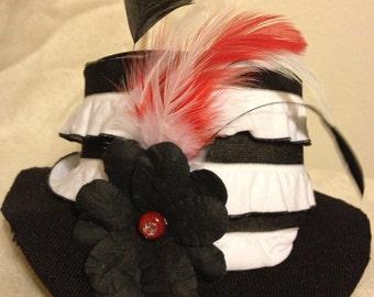 Mini top hat black and white