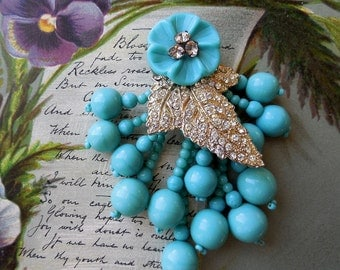 MIRIAM HASKELL Turquoise Bead & Rhinestone Leaf Dress Clip Brooch