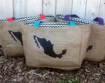 6 Eco-Friendly Semi Custom Tote Bags - Handmade from Recycled Coffee Sacks