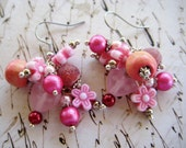 Bright Pearly Pink Cluster Dangle Earrings