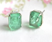 Vintage Mint Green Glass Swirl Rectangle Silver Rhinestone Post Earring - Wedding, Bridesmaid, Holiday