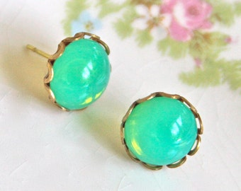 Green Opal Post Earrings - Glass Scalloped Brass Rhinestone Post Earrings - Wedding, Bridal, Bridesmaid, Beach, Honeymoon