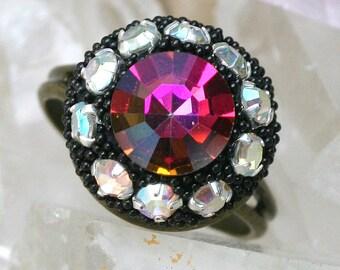 Boho Ring Jeweled Vintage Crystals Rhinestones Encrusted Small Cocktail Adjustable Statement Ring Sparkle Factor