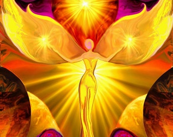 "Yellow Third Chakra Art,  Reiki Angel Energy Art ""The Becoming"" by Laurie Bain"