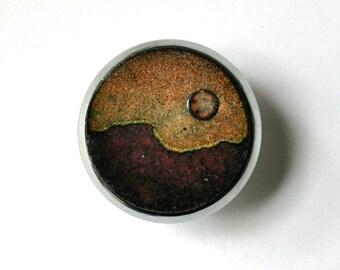 Enameled Copper Drawer Pulls /  Desert Sunrise Pair / Copper Enamel Cabinet Knob /Copper Enamel Cabinet Knob / Earthtones / Cabinet Pulls