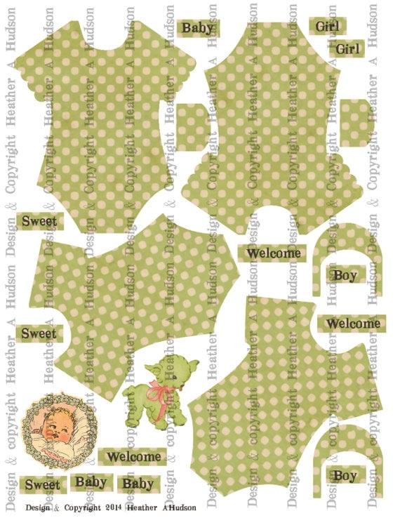 Vintage Baby Girl Boy  Sweet Green Onesie Set Digital Collage sheet Printable