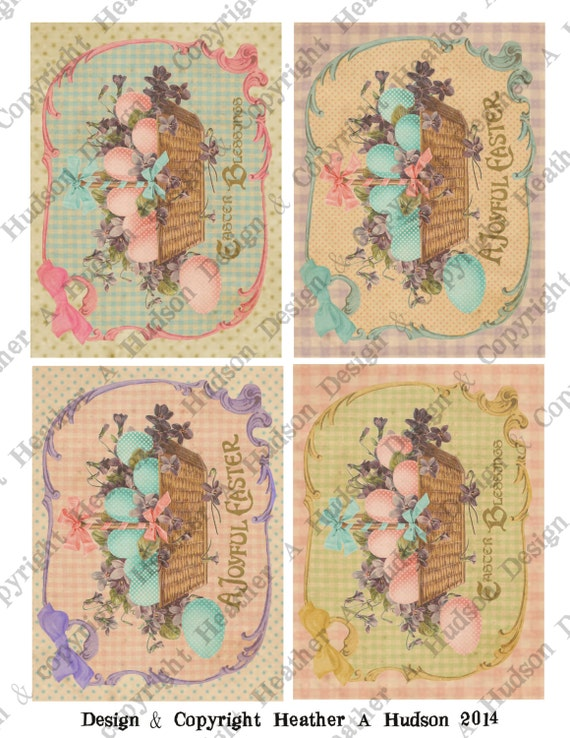 Victorian Vintage Easter Shabby Pink Basket Violets Eggs Card Fronts Digital Collage sheet Printable