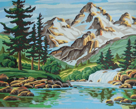 vintage mountain lake pine forest paint by number midcentury