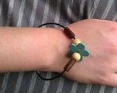 Blue Flower and wood Bead Bracelet - Handmade - Nickel Free