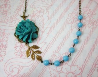 Turquoise Rose Necklace. Blue Theme. Gift for her. Anniversary, Birthday, Bridesmaids, Christmas, Maid of Honor.