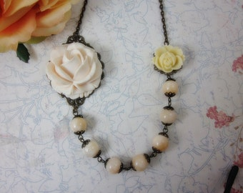 Ivory Vintage Rose Necklace. Gift for her. Anniversary, Birthday, Maid of Honor