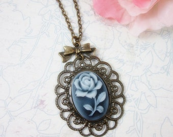 Grey flowers cameo Pendant Necklace. Gift for her. Birthday, Bridesmaid, Christmas.