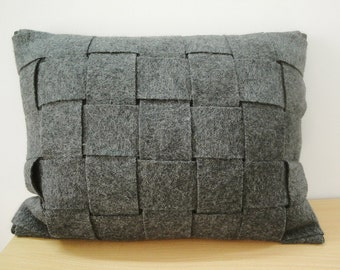 Woven Grey Felt Cushion Cover, Lumbar, Decorative Pillow, Accent Throw Pillow