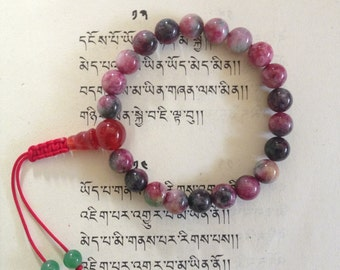 Tibetan Mala Blood Stone Wrist mala with Guru Bead for meditation GMS-73