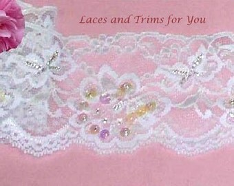 White Lace Trim 3/6 Yards Glass Beaded W/Sequins Stretch 2-3/4 inch Lot RK Added Items Ship No Charge