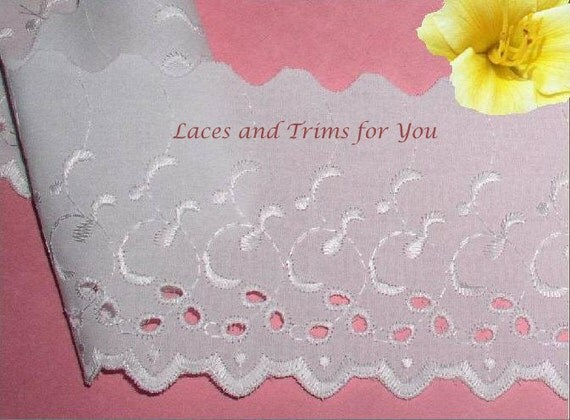 White Eyelet Trim 4 Yards Embroidered Cotton 4 inch Lace I00 Added Items Ship No Charge