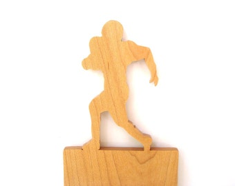 CLEARANCE: Football Player Light Switch Cover Plate Sports Decor Maple Hand Cut Scroll Saw