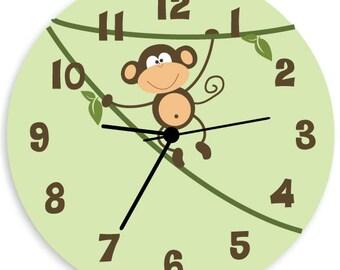 Monkey WALL CLOCK for Kids Bedroom, Baby Nursery Wall Art