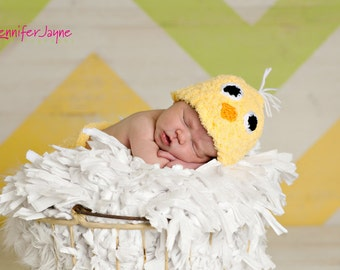 PDF Crochet Pattern Newborn Chick Hat and Diaper Cover Set with Amigurumi Cracked Eggshell Halves Photo Prop Easter Spring