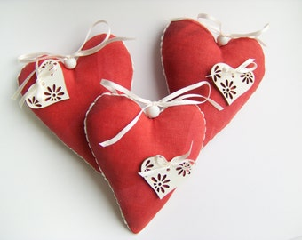 Hanging Hearts - Set of Three Red Hearts - Home Decor - Stuffed Fabric