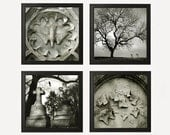 Cemetery Collection - Four 8x8 Photos - Dark Gothic Romantic Love Graveyard Black White Headstones Eternity Instant Collection 4 Wall Art