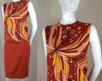 Vintage 1960s psychedelic Bradley shell skirt blouse dress Rust Deadstock