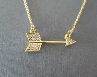 Sideways Gold CZ Arrow Necklace