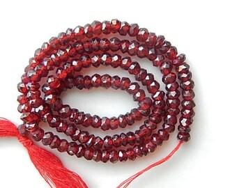 4-5mm  Garnet faceted,rondelle beads , full strand