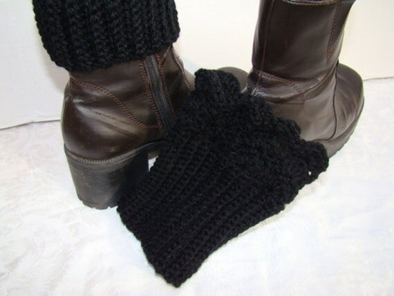 Midnight Black hand crocheted winter warm boot cuffs with scallop edging