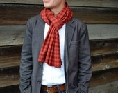 Men's Flannel Scarf in Maroon and Orange Check- hokies virginia tech cotton plaid scarf mens accessories