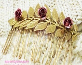 Aphrodite rose  hair comb- jewelry - Grecian- Greek Goddess- Aphrodite collection- love - Valentines day- special occasion- bridal-wedding